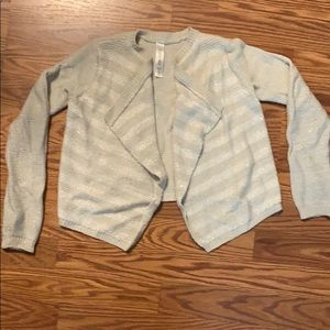 Cream stripe cardigan w/ perfect amount of shimmer